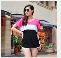 Free shipping 2014 newest style women t shirt Dew shoulder stitching color loose big yards short sleeve T-shirt  6 colors