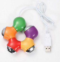 Built-in USB cables colorful HOT 4-Port USB 2.0 Breakout Hub Multi Color Flower