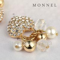 H124c MONNEL New Design 3 pcs Crystal Heart Love Charm Pendant