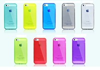 8Color Transparent HD Clear Crystal Soft Rubber silicon TPU case for iPhone 5 5S Free Shipping