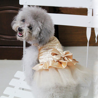 FreeShipping Dog Puppy Wedding Party Lace Skirt Clothes Bow Tutu Princess Dress Pet Apparel DropShipping