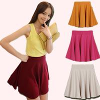 SUPPER!!2014 Spring new women polyester fiber pleated skirt sun dress short slim all-match skirt wholesale freeshipping