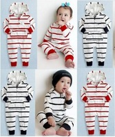 Free shipping infant newborn clothes striped boys girls rompers Long sleeve Polo rompers costume outfit for 0-24M baby jumpsuits
