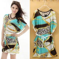 Plus Large Size Spring - Summer Women Dresses Novelty Print High Street Autumn-Summer Casual Mini Ice Silk Long T Shirts  Sale