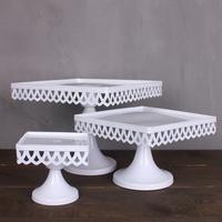Fashion wedding square cake pan tall iron cake rack fruit plate mug-up pallet cake stand(set of three)