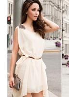 with belt!!Hot 3 Color Women's Stylish Shoulder Mark Irregular Chiffon Sleeveless Party Dress With Belt Ivory White