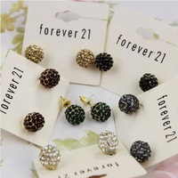 Jewelry factory wholesale women rhinestone ear stud earrings exaggerated semi-precious stone earrings 6pairs/lot cheap