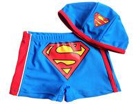 "New baby Boys Swimwear kid boys swimsuit swimming trunks & hat ""superboy"""