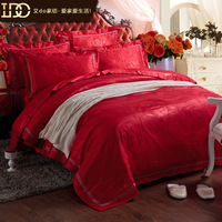 Do 100% luxury home textile cotton satin jacquard four piece set fashion royal wedding four piece set