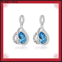 2014 New 925 Sterling Silver with sky blue Austrian crystal Drop earrings pear  Sound of the Sea gemstone Women's jewelry 506036
