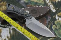 New CNC BLACK G10 Handle D2 Blade Full Tang Hunting Sheath knife VTH14