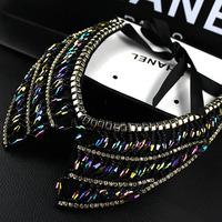 Free shipping Fashion vintage rhinestone crystal beads handmade chain female necklace false collar fashion