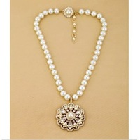 Free shipping Fashion fashion accessories luxury vintage diamond simulated-pearl short design pendant necklace