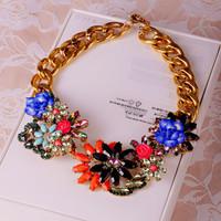 Free shipping Fashion big flower 253696 gem necklace female short design