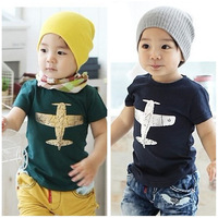 Wholesale 5 PCS/LOT 2014 children summer casual clothing baby boy girl short sleeve t shirt kids tops Child Clothes plane