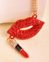 Free shipping 2013 lips lipstick full rhinestone elegant long necklace sexy dream necklace