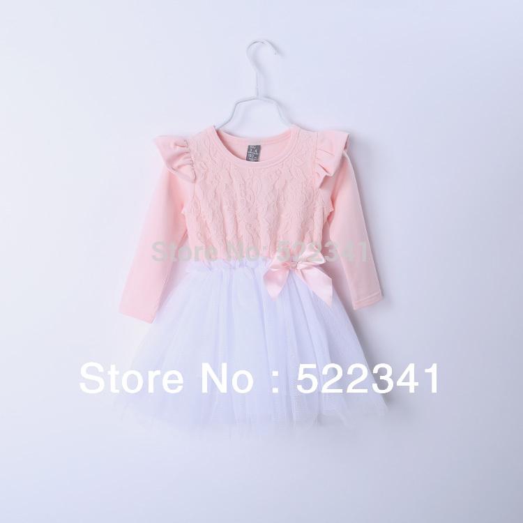 2015 spring new style Korean children wear female Tong Baoyu bow net veil dresses lace dress girls dress children's clothing(China (Mainland))