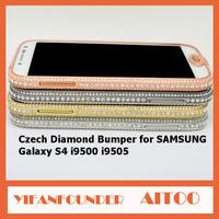 DHL Free Bulk Rhinestone Cases For SAMSUNG Galaxy S4 I9500 I9505 Zinc Alloy Metal With Crystal Shining Czech Jewls 30 Pcs/lot