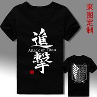 HOT SALE!Japan anime Attack on titan 100% cotton black T shirt wholesale short sleeve shirts