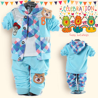 2014 spring models bear baby clothing baby three pieces set  three pieces set long sleeve set