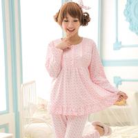 Lace dot clothing spring summer Fashion maternity clothes sleepwear nursing clothing Pajamas Set Night Wear