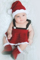Free shipping 100% Pure Handmade Cute  Christmas clothing   set  Crochet newborn photography props