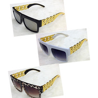 2014 NEW Kim Kardashian Beyonce Flat Top Mirror Glasses Men/Women Metal Golden Twisted Riskier Sun Glasses Free Shipping S-029
