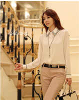 2014 new arrival  spring summer women chiffon blouse full sleeve shirts plus size fashion tops clothing  office T-shirt