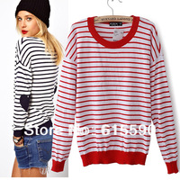 Hotting Full Sleeve O-Neck Black Red Striped Heart Pattern Patch Embroidery Casual Sweaters For Women Pullovers