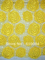 Free shipping, france Water soluble design,french lace fabric for african,J174-8,yellow