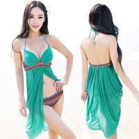 One-piece dress swimwear plus size belt push up small female swimwear swimsuit hot springs