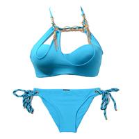 Sky Blue sexy beach bikini swimwear women's metal decoration hot spring swimsuit