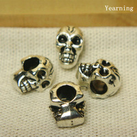 Yearning Jewelry Accessories Alloy Antique Silver Big Hole Beads Charm Bracelet Skull beads Fit Bracelet 100PCS