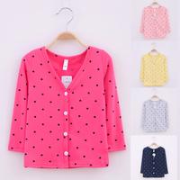 2014 children's spring  100% cotton polka dot V collar cardigan female chromophous sunscreen outerwear