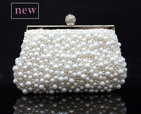 Free shipping  pearl rhinestone evening bag clutch day clutch black white high quality handbag cross-body