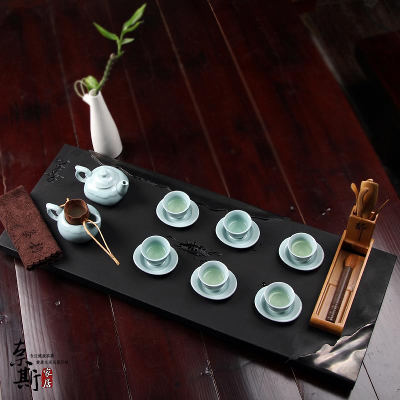 Stone tea tray set guanyao celadon ceramic kung fu tea set natural black stone tea sets