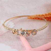 Free Shipping Fashion New Women/Girl's 18k Yellow Gold Filled  Austrian Crystal Love Bracelet Bangle Gift Jewelry
