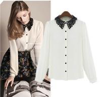 New 2014 Autumn Fashion Brand Women White Blouses Long Sleeve Black Lace Chiffon Casual Sheer Shirt Tops Blusas Femininas