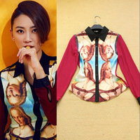New In 2014 Hot Europe Fashion Elizabeth Portrait Print Women's Shirt Long Sleeve Ladies Blouses Tops  F15803