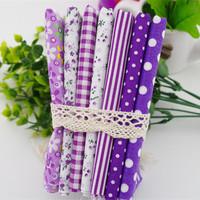 New 2014 50x50cm 7pcs/lot dot stripe floral purple cotton patchwork fabrics quilting tilda cloth home textile material JY01