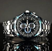 Fashion new arrival male silver blue steel watch outside sport casual watch curren watch