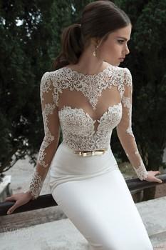 Fw021 элегантный чистой длинные рукава кружево спинки свадебное платье