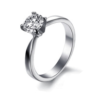 Wholesale Fashion Jewelry 316L Stainless Steel Women Rings Silver Grain Circle CZ Ring Couple Rings Engagement Rings