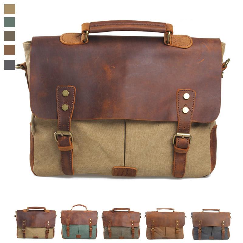 Canvas +genuine leather vintage men messenger bags fashion messenger bag laptop briefcase tote canvas shoulder handbags 2015(China (Mainland))
