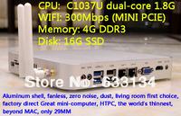 4G/16G SSD WIFI C1037U dual-core Celeron CPU HD mini computer mini pc industrial computer dual Gigabit LAN win7 host USB3.0