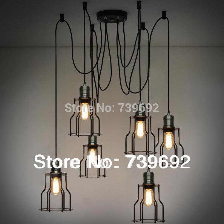 E27 lamp base six heads Vintage iron cage pendant lights american style bulb pendant light living room lights(China (Mainland))