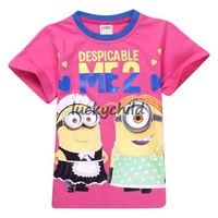 FREE SHIPPING!Retail! New arrivals!summer short sleeve cotton Despicable Me 2 Minions colourful chirldren tshirt,