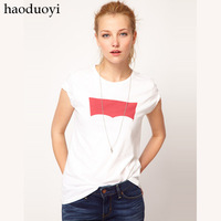 Classic denim brand LOGO print o-neck slim t-shirt white 6 full haoduoyi