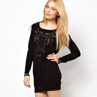 For dec  orative pattern laser cutout cut out formfittingly long-sleeve haoduoyi one-piece dress black