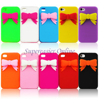 3D Bowknot Bow Tie Rubber Silicone Soft Cover Case & Screen Guard For iPhone 4 4S Free Shipping